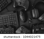 gamer workspace concept  top... | Shutterstock . vector #1044021475
