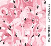 pink flamingos seamless pattern.... | Shutterstock .eps vector #1044033232