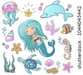marine illustrations set.... | Shutterstock .eps vector #1044045442