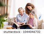 a teenage girl  mother and... | Shutterstock . vector #1044046732