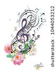 abstract treble clef with... | Shutterstock .eps vector #1044053212