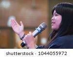 smart businesswoman speech or... | Shutterstock . vector #1044055972