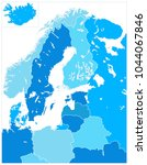 northern europe map in five... | Shutterstock .eps vector #1044067846