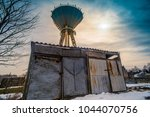 grunge rusty garage and old sky ... | Shutterstock . vector #1044070756