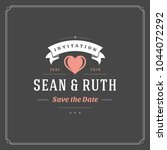 wedding save the date... | Shutterstock .eps vector #1044072292