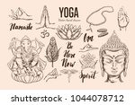 yoga set. vector isolated hand... | Shutterstock .eps vector #1044078712