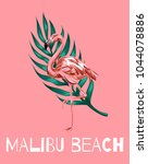 malibu beach. vector colorful... | Shutterstock .eps vector #1044078886