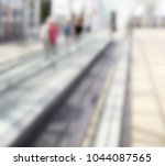 view of a trade show location.... | Shutterstock . vector #1044087565