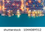 container ship in export and... | Shutterstock . vector #1044089512