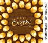 set of golden easter eggs with...   Shutterstock .eps vector #1044089758