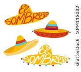mexican sombrero with font... | Shutterstock .eps vector #1044113032