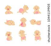 baby girl set. beautiful baby... | Shutterstock .eps vector #1044119905