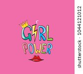 vector girl power label or... | Shutterstock .eps vector #1044121012