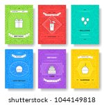 happy birthday set infographics ... | Shutterstock .eps vector #1044149818