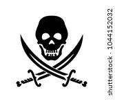 piracy symbol a skull and two... | Shutterstock .eps vector #1044152032