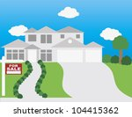 for sale sign on front lawn of... | Shutterstock .eps vector #104415362