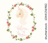 head of unicorn in a floral... | Shutterstock .eps vector #1044156982