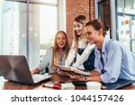 group of students looking at... | Shutterstock . vector #1044157426