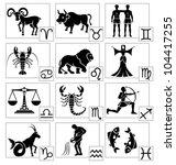 zodiac   black silhouettes.... | Shutterstock .eps vector #104417255