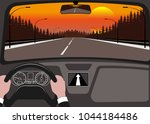 car on the road  a view from... | Shutterstock .eps vector #1044184486
