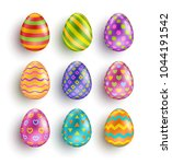 color easter eggs set with...   Shutterstock .eps vector #1044191542