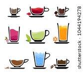 set of cup of tea  coffee ... | Shutterstock .eps vector #1044194278