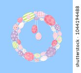 colorful wreath with easter...   Shutterstock .eps vector #1044194488