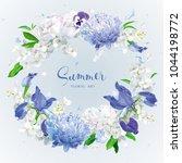 summer vintage floral round... | Shutterstock .eps vector #1044198772
