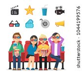 characters set of funny peoples ... | Shutterstock .eps vector #1044199576