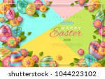 easter flyer template with... | Shutterstock .eps vector #1044223102