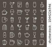 beverage and glass set  outline ... | Shutterstock .eps vector #1044226546
