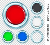 set of big plastic buttons in... | Shutterstock .eps vector #1044227632