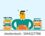 caucasian annoyed student... | Shutterstock .eps vector #1044227788