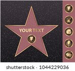 hollywood walk of fame star on... | Shutterstock .eps vector #1044229036
