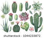 watercolor set of cacti and... | Shutterstock . vector #1044233872