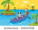 illustration of kids in a boat | Shutterstock .eps vector #104424338