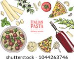 italian cuisine top view frame. ... | Shutterstock .eps vector #1044263746