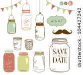 glass jars  frames and cute... | Shutterstock .eps vector #104427242