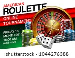 illustration Online Poker casino banner with american roulette on green surface table. Marketing Luxury Banner Jackpot Online Casino with classic roulette. Advertising poster with red ribbon for text. - stock vector