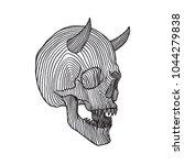horned skull  hatching... | Shutterstock .eps vector #1044279838