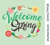 welcome spring card | Shutterstock .eps vector #1044279928