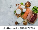 selection on vegetarian and... | Shutterstock . vector #1044279946