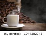 white coffee cup and coffee...   Shutterstock . vector #1044282748