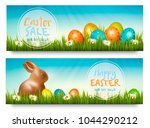 two easter sale banners with... | Shutterstock .eps vector #1044290212