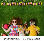 little girl and boy  and his...   Shutterstock . vector #1044292285
