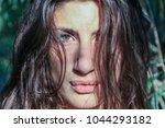 beautiful pagan woman looking... | Shutterstock . vector #1044293182