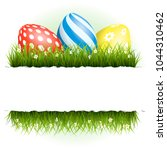easter background with eggs in... | Shutterstock .eps vector #1044310462