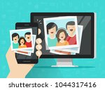 smartphone streaming photo... | Shutterstock . vector #1044317416