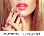 beautiful girl  long and ... | Shutterstock . vector #1044319465