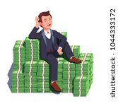 happy rich man sitting... | Shutterstock .eps vector #1044333172